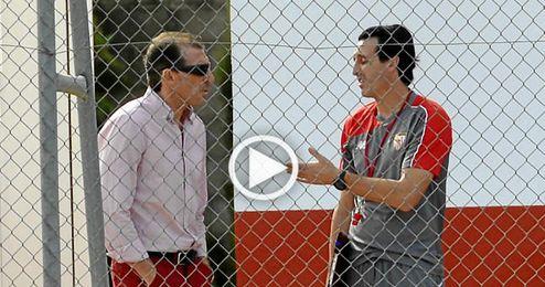 (Vídeo) Intensa charla entre Emery, Óscar Arias y Monchi