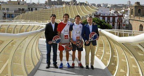 Paquito Navarro y Juan Lebrón, en la presentación junto a David Guevara y Javier Porras.