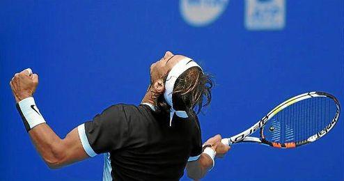 Rafa Nadal celebra su triunfo ante Fabio Fognini en Pekín.