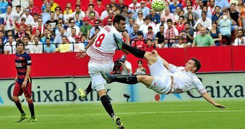 Iborra marcó uno de los goles en la victoria frente al Barça.