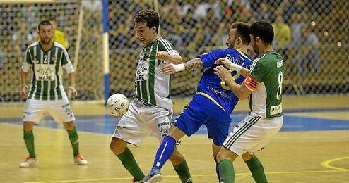 Lance del partido disputado en San Pablo entre el Betis FSN y el Movistar Inter.