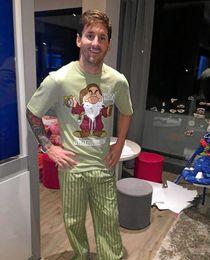 Messi mostró está imagen con su nuevo pijama.