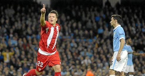El jugador tras marcar el gol ante el Manchester City en el partido de Liga de Campeones.
