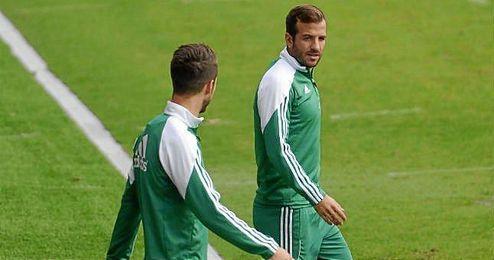 Van der Vaart, en un entrenamiento reciente.