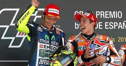Valentino Rossi y Marc Márquez compartiendo podio en Jerez.
