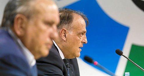 Javier Tebas, presidente de la LFP, presentó ayer el acuerdo.