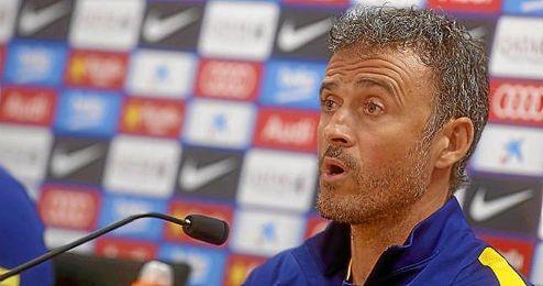 El técnico del Barcelona, Luis Enrique, en sala de prensa.