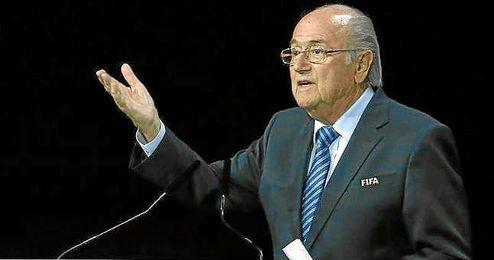 Joseph Blatter, durante un congreso de la FIFA.