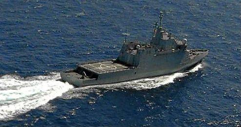 Imagen de uno de los barcos que participa en la búsqueda de los militares.