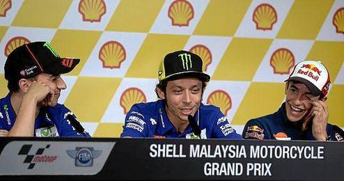 Lorenzo, Rossi y Márquez en la rueda de prensa del GP de Malasia.