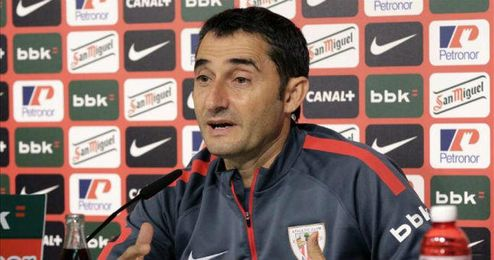 Ernesto Valverde durante una rueda de prensa posterior al partido.