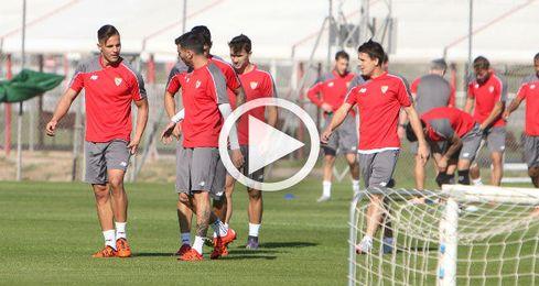 Entrenamiento del Sevilla pensando en el Real Madrid.
