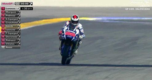 Lorenzo saldrá primero y Rossi se va al suelo en Valencia