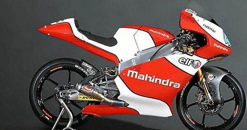 Las motos Peugeot MGP3O compartirán ADN mecánico con las motos de Mahindra Racing.