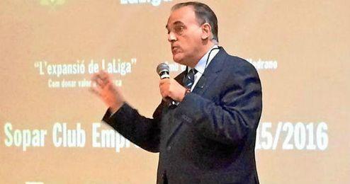 Tebas durante su ponencia en Tarragona.