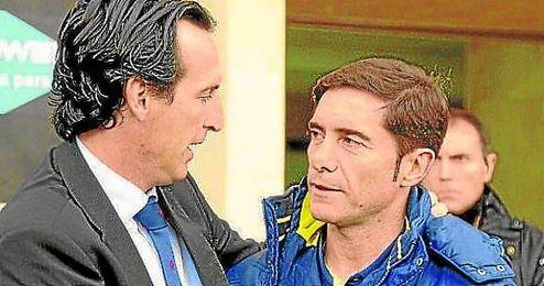 Unai Emery, entrenador del Sevilla FC, junto a Marcelino Garc�a Toral, t�cnico del Villarreal CF.