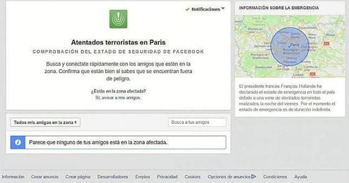 Comprobaci�n de seguridad de Facebook tras los atentados en Par�s.