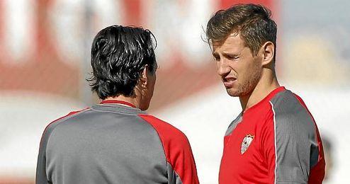 El polaco, en una sesi�n con Emery.