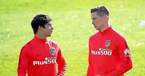 Óliver y Torres en la sesión matinal de trabajo de este viernes.