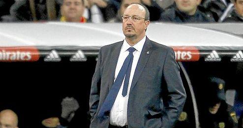 Benítez, en la banda del Santiago Bernabéu.
