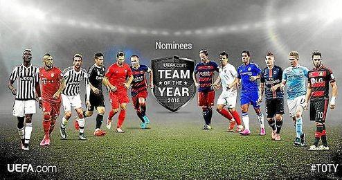Estos son los 12 centrocampistas nominados por la UEFA.