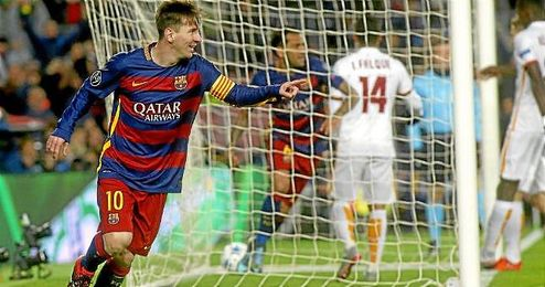 Leo Messi celebrando un tanto con el FC Barcelona.