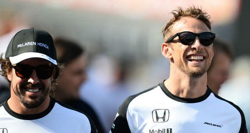 Fernando Alonso y Button, compa�ero de equipo en McLaren.