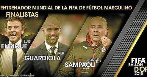 Los tres candidatos a Mejor Entrenador FIFA.
