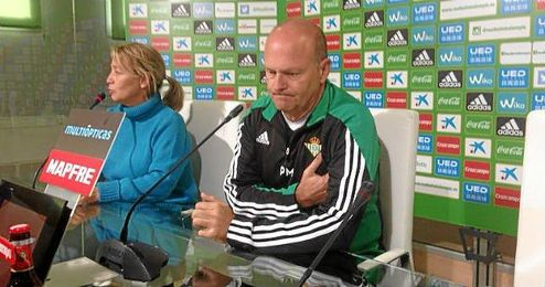 Pepe Mel, en la rueda de prensa previa al Betis-Sporting.