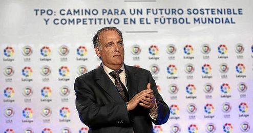 Javier Tebas, presidente de La Liga, que ha vendido a Orange y Vodefone los derechos de retransmisi�n en los bares.