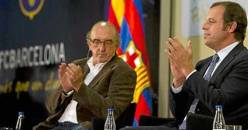 Jaume Roures, en un acto junto a Sandro Rosell.