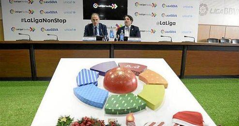 """Javier Tebas, presidente de la Liga, anunció """"precios especiales"""" para niños en Navidad."""