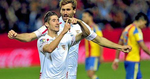 Escudero celebra su gol contra el Valencia.