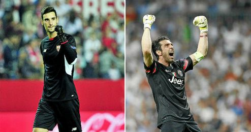Rico y Buffon defenderán las porterías esta noche en el Sánchez-Pizjuán.