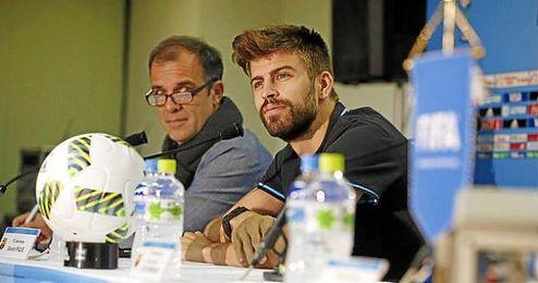 Gerard Piqu� durante la rueda de prensa previa al partido contra el Guangzhou.