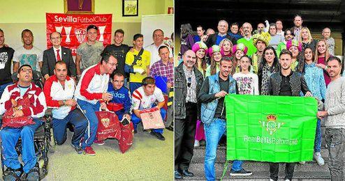 Sevillistas y béticos han exhibido su espíritu navideño y solidario con visitas a centros hospitalarios sevillanos.
