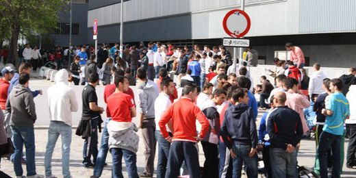 El Sevilla ha querido evitar estas colas.
