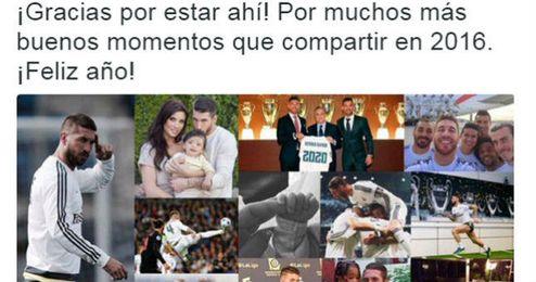 Sergio Ramos la l�a por dos veces en su felicitaci�n de 2016