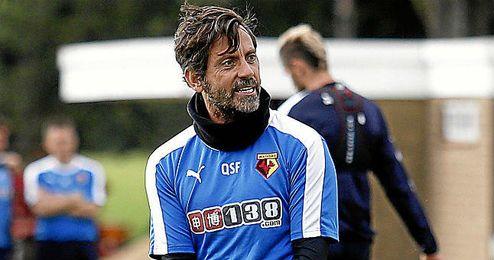 Quique Sánchez Flores durante un entrenamiento del Watford.