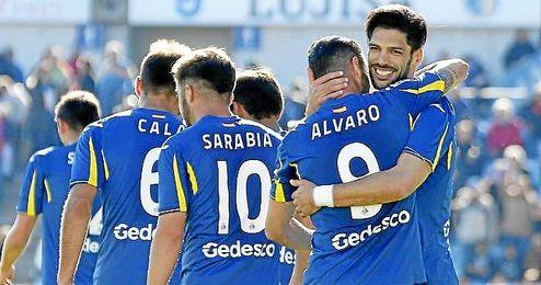 Lafita celebra un gol logrado con el Getafe esta temporada.