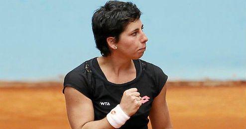 La espa�ola Carla Su�rez celebrando un punto en el Open de Madrid.