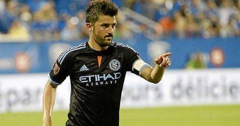 David Villa en un partido con el New York City.