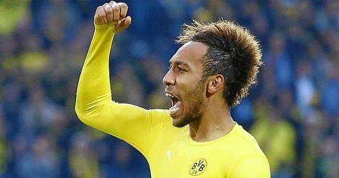 Aubameyang, celebrando una victoria con el Borussia Dortmund.