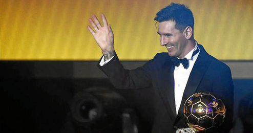 Leo Messi recoge su quinto Bal�n de Oro.