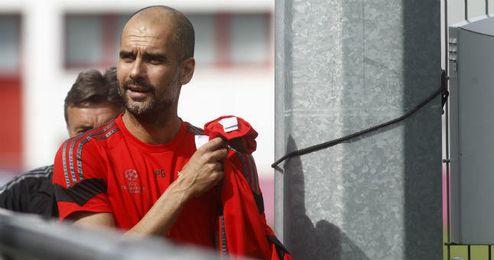 Guardiola, en un entrenamiento con el Bayern
