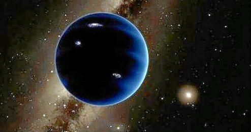 Representación artística del planeta: se piensa que es gaseoso, similar a Urano y Neptuno.