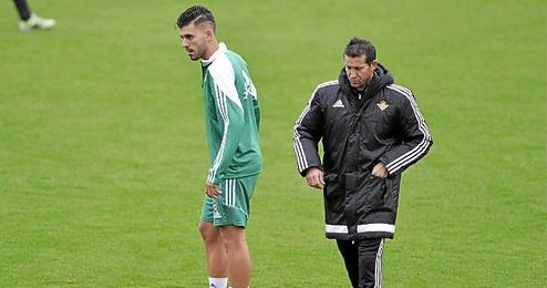 Merino y Ceballos, en un entrenamiento.