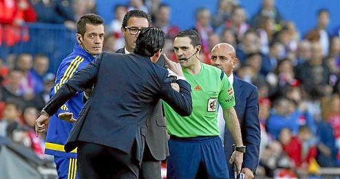 Emery, tras ser expulsado en el Calder�n.