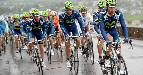Imagen del Movistar Team en plena pueba ciclista.