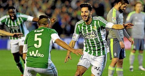 Cejudo, ante el Madrid, metió el último de los cinco goles verdiblancos antes del descanso